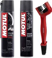 Sada na čištění řetězů Motul Chain Clean C1 / Lube Road C2+ + kartáč, sada 3ks AKCE