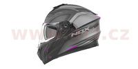 Přilba N918 Upside, NOX (černo-šedá matná, růžová)